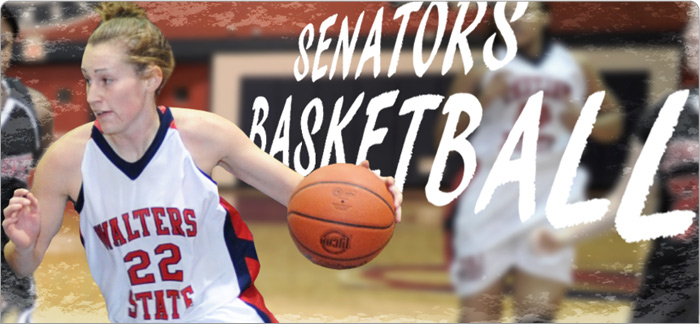 Senators Basketball. Action shot of female student dribbling ball on court
