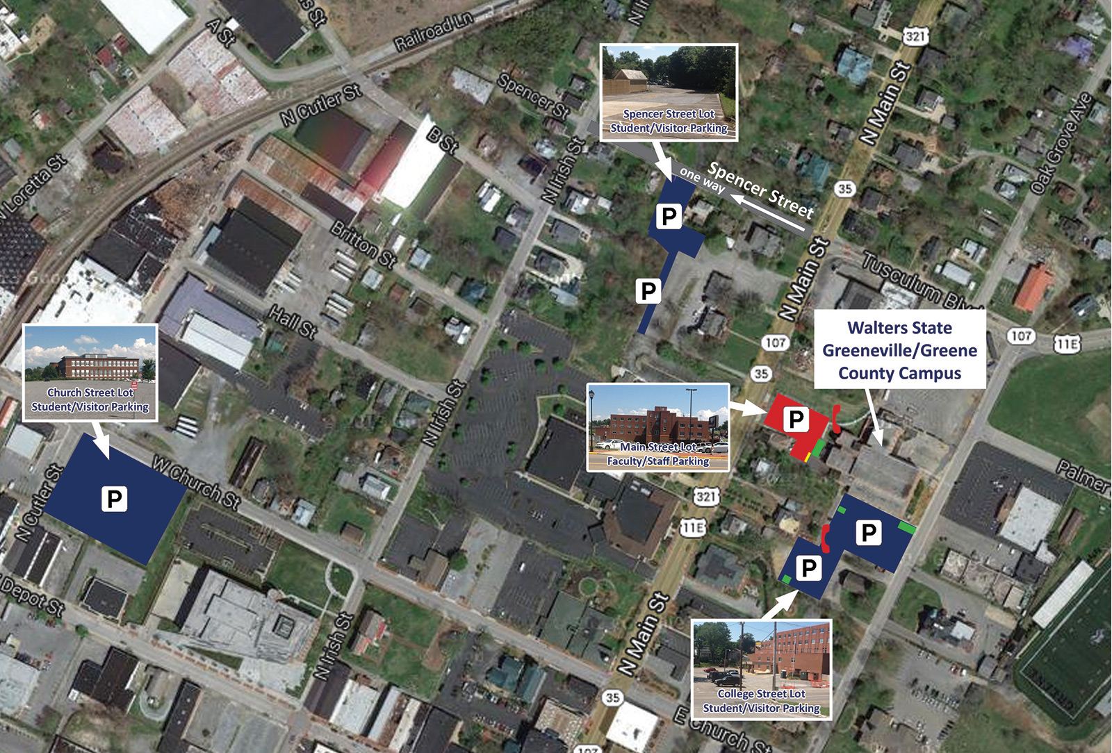 Greeneville Campus Parking Map