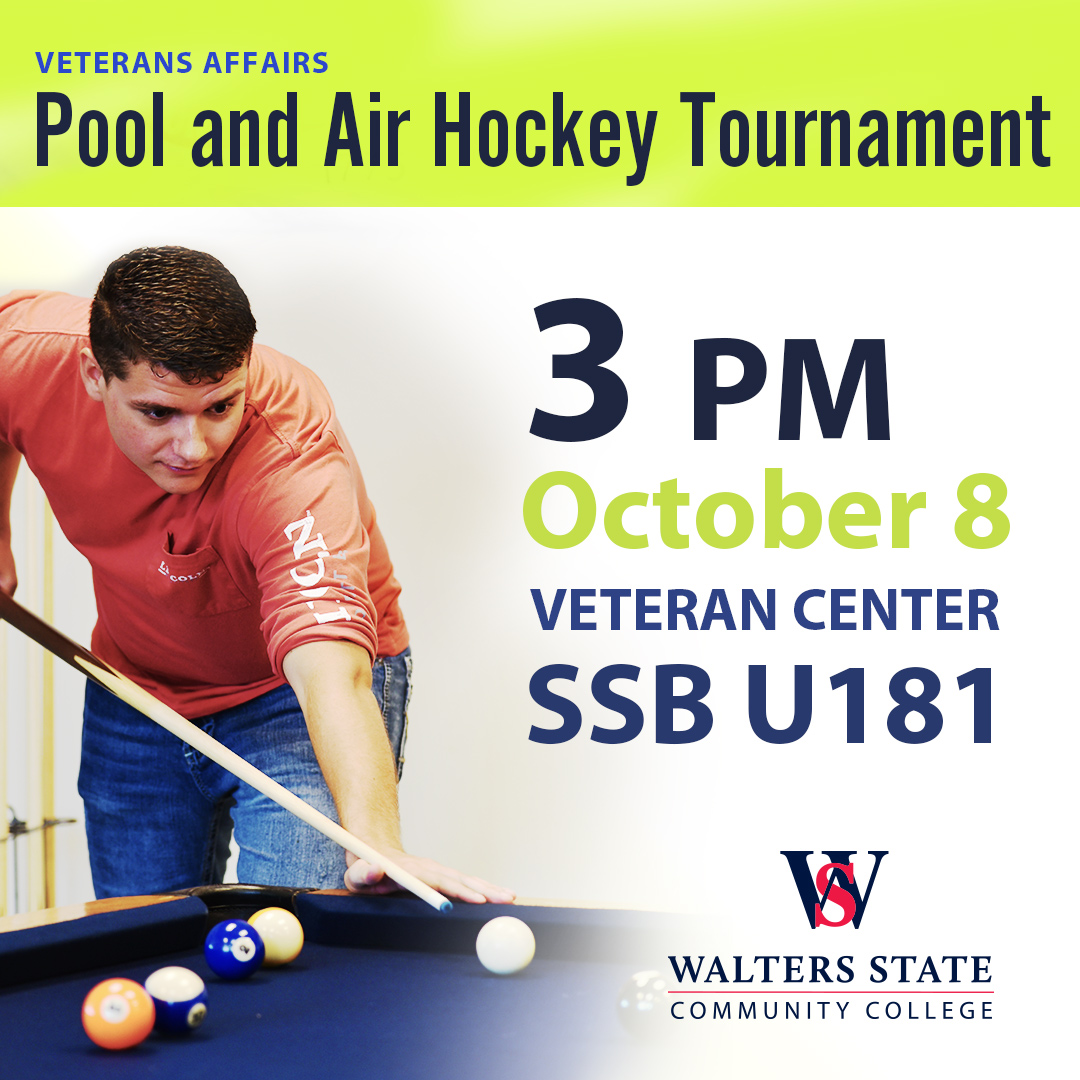 Veterans Affairs Pool and Air Hockey Tournament. 3PM October 8, 20119. Veteran Center SSB U181